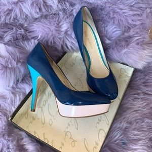 Blue patent turquoise heel and beige platform pump